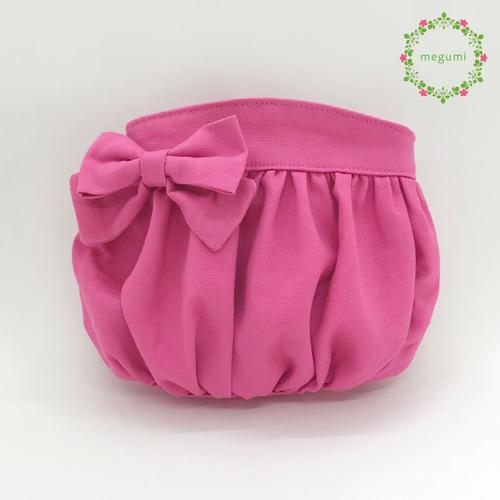 ふんわりギャザーの移動ポケット(ピンク)
