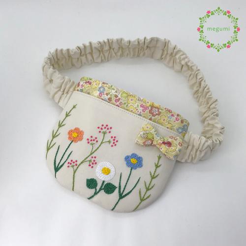 【ウエストゴム】お花の刺繍 ふたなし移動ポケット(ベージュ)
