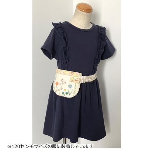 【ウエストゴム】お花の刺繍 ふたなし移動ポケット(ベージュ)着用写真