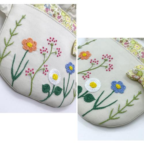 【ウエストゴム】お花の刺繍 ふたなし移動ポケット(ベージュ)アップ