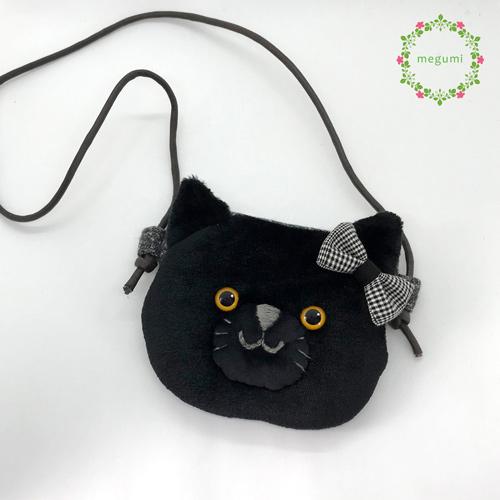 黒猫のふわふわポシェット