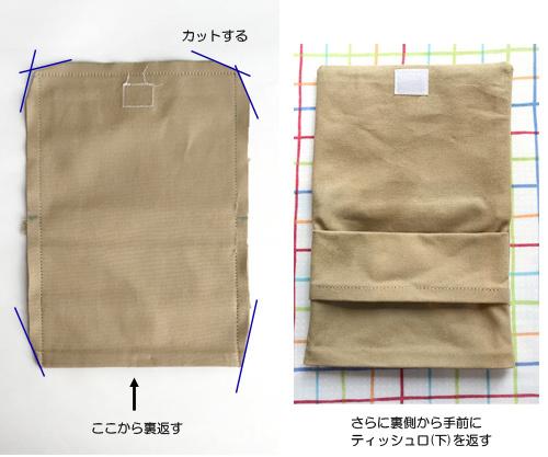 移動ポケットの作り方【ティッシュケース付き】 マチ付きタイプ