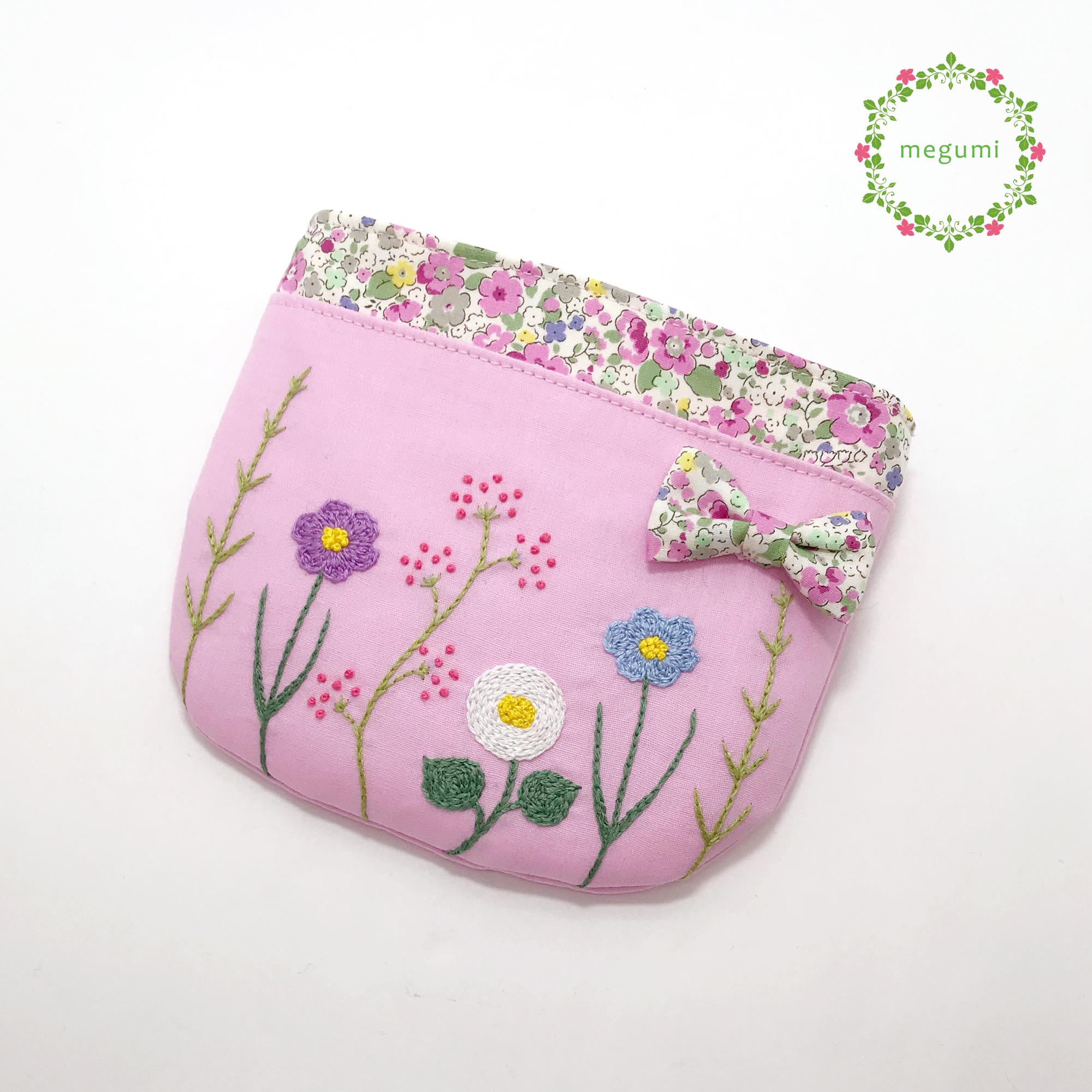 お花の刺繍 移動ポケット ピンク